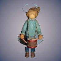Artist Doll Wood Drummer Miniature Dollhouse Sweet!