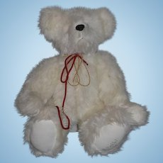 Large White Artist Teddy Bear Barb's Bear Signed Barb Poellet Jointed Sweet!!
