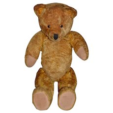 Old Teddy Bear Mohair Smiling Bear Jointed Big Flat Feet!