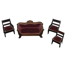 Antique Doll Miniature Dollhouse Waltershausen Sofa Chairs