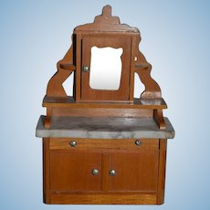 Old Wonderful Doll Miniature Wood Marble Top Cabinet with Mirror Dollhouse