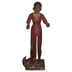 Old Doll Wood Santos Creche Glass Eyes Figure Statue Religious