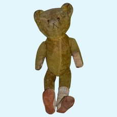 Antique Teddy Bear Mohair Jointed Tall Bear Long Legs Leather Paws