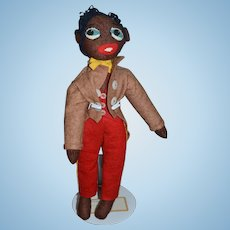 Old Doll Black Cloth Felt Golliwog