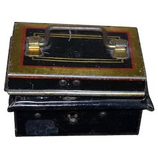 Old Doll Tin Miniature Tin English Trunk Chest Box Swing Handle