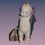 Old Rose O'Neill Kewpie Doll Figurine Traveler Umbrella and Suit Case