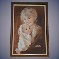 Wonderful Dianne Dengel signed Oil Painting Mother w/ Baby Framed Doll Room!!