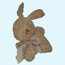 Old Bunny Rabbit Stuffed Animal Doll Friend old Pink Tin Eyes