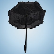 Old Doll Child's Parasol Umbrella Carved Wood Folding Handle Ornate