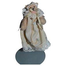 Miniature Doll Toy Teddy Bear Artist M.B. Original Clothes Dollhouse