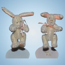 Miniature Bunny Rabbit Stuffed Mohair Doll Toys Jointed Signed BY ELVA Numbered TWINS TWO RABBITS