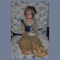 "Antique Doll Papier Mache Large Fancy Doll Glass Eyes 30"" Beaded Gown"