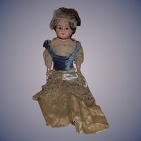 """Antique Doll Papier Mache Large Fancy Doll Glass Eyes 30"""" Beaded Gown"""