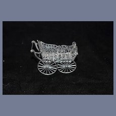 Old Doll German Metal Pram Carriage Buggy Miniature Dollhouse