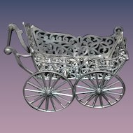 Old Doll German Metal Pram Carriage Buggy Miniature Dollhouse