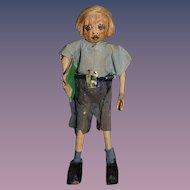 Old Miniature Nut Head Doll Dressed in Crepe Paper Dollhouse School Boy