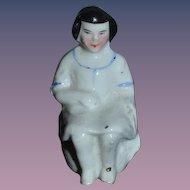 Old Doll China Head Frozen Charlotte Sitting on Pot China Head Miniature Dollhouse