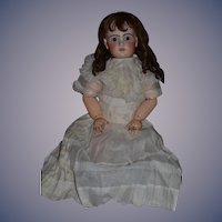 "Antique Doll French Bisque HUGE Girl Wonderful Face 35"" Tall"