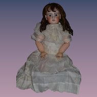 """Antique Doll French Bisque HUGE Girl Wonderful Face 35"""" Tall"""