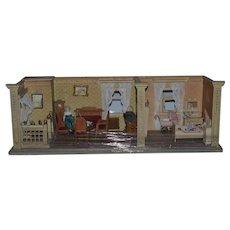 Antique Doll Miniature Dollhouse Diorama Room Box Filled W/ Furniture and Dolls! Pram