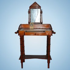 Antique Doll Dressing Vanity Table Marble Top Bamboo Trim for French Fashion Fancy