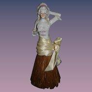 Old Doll China Head Half Doll Wisk Broom Figurine