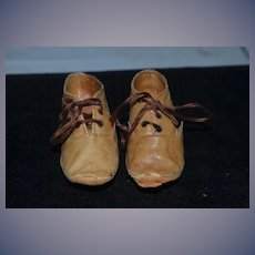 Old Leather Doll Child's Shoes lace up... Sweet!