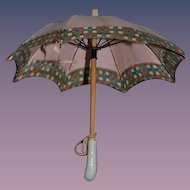Antique Doll Parasol Umbrella Miniature Fashion Doll Seashell Porcelain Handle