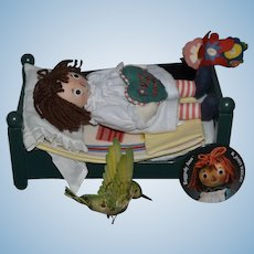 R. John Wright Doll Raggedy Ann Collection Doll W/ Bed and Accessories in Box The Magical Hour Humming Bird Pin Ringlet