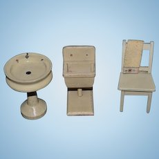 Old Doll Wood Bathroom Set Pedestal Sink Wash Stand Chair and Towel Miniature Dollhouse