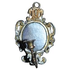 Old Doll Miniature Soft Metal Sconce Candle Stick and Ornate Mirror Wall Hanging Dollhouse