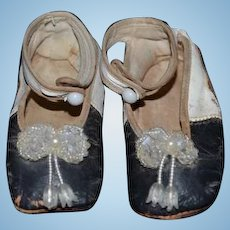 Antique Leather Doll Or Child's Shoes with Buttons and Fancy Beads