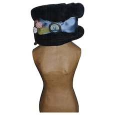 Gorgeous Doll Hat Artist Made W/ Old Pinback Hotel Astor Pin Back
