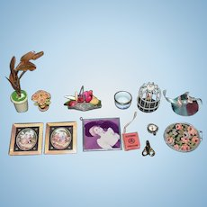 Wonderful Doll Vintage Mixed Miniature Lot For Dollhouse Tray Scissors Books Flowers Hat bird Cage & More