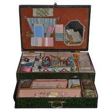 Antique Doll French Wood Box Sewing Kit W/ Drawers Filled W/ Sewing Box Wonderful Child or Doll