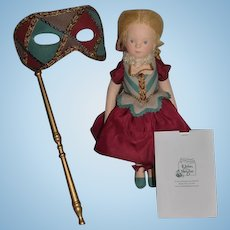 Wonderful Doll R. John Wright Le Bal Masque Musette Artist Doll W/ Papers and Mask