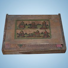 Old Doll Wood Blocks to Make Dollhouse Castle in Original Wood Box Miniature