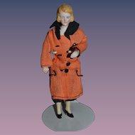 Old Doll Dollhouse Lady Miniature Fancy Hair Bun Bisque