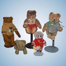 Vintage Teddy Bear Doll Collection Steiff Cosy English Lion Stuffed Animal The 3 Bears Co. Miniature Steiff Five Cloth Animals