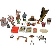 Vintage Doll Dollhouse Miniature Dollhouse Clock Spinning Wheel Wood Figure Book Fan Saw Flowers & More English Harp