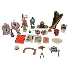 Vintage Doll Dollhouse Miniature Dollhouse Clock Spinning Wheel Wood Figure Book Fan Saw Flowers & More English Harp