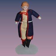 Old Doll Miniature Dollhouse Man W/ Uniform Bisque