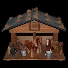 Old Doll Wood Miniature Farm House W/ Animals Barn Carved Dollhouse Franz Carl Weber W/ Tag