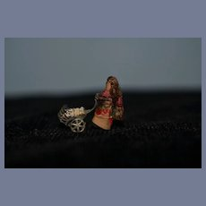 Old Unusual Miniature Doll W/ Metal Pram Baby Carriage Cloth Doll TINY Dollhouse