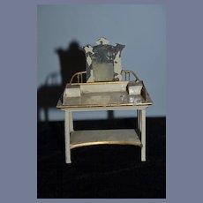 Antique Doll Miniature Old Metal Tin Vanity W/ Mirror Dollhouse