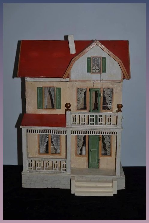 Antique Dollhouse Miniature Moritz Gottschalk & Dollhouse Furniture Two  Story Red Roof - Antique Dollhouse Miniature Moritz Gottschalk & Dollhouse Furniture