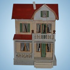 Antique Dollhouse Miniature Moritz Gottschalk & Dollhouse Furniture Two Story Red Roof