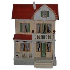 Antique Dollhouse Miniature Moritz Gottschalk & Dollhouse Furniture Two Story Red Roof