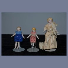 Antique Doll Dollhouse China Head LOT Family Miniature