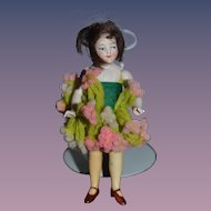 Old Doll Miniature Yellow Stockings Thigh High Dollhouse All Bisque